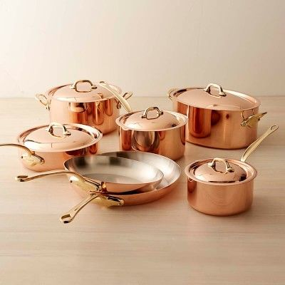 These would look fabulous on a black stainless steel stove by LG!!! Mauviel Copper 12-Piece Cookware Set #williamssonoma Attractive cookware! #LGLimitlessDesign #Contest