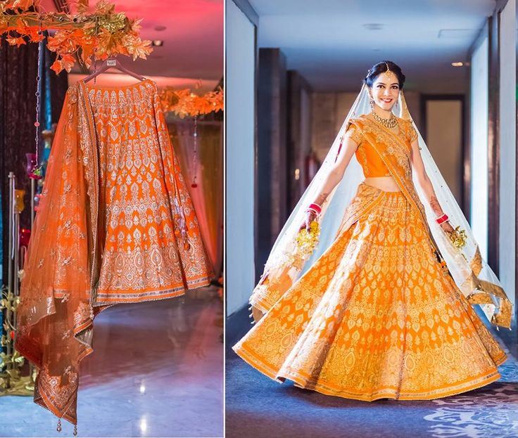 A turmeric color lehenga and blouse with gold thread work from Meena Bazaar for Bride Nidhi of WeddingSutra. Photos Courtesy- Infinite Memories