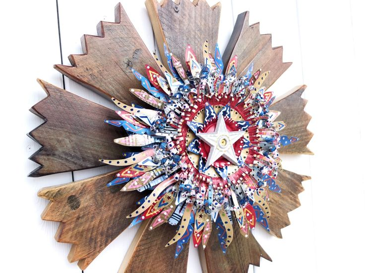 Rustic Americana Wreath, Country Home Decor, Rustic Home Decor, Rustic Patriotic Decor, Country Primitive Decor, Farmhouse Decor, Cabin Art by SalvageandBloom on Etsy https://www.etsy.com/listing/219891002/rustic-americana-wreath-country-home