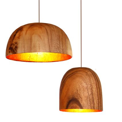 Acacia wooden lamp with copper inside.  Love this