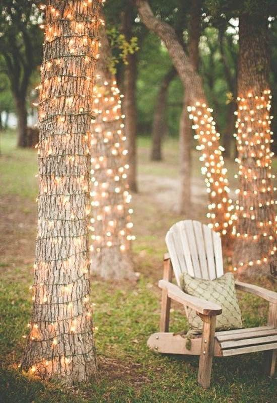 Cheap Wedding Lighting Ideas By Putting Lamp On TreesPATIO LIGHTING