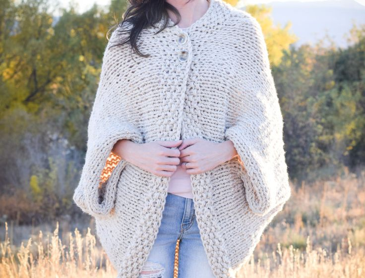 "Free pattern for an easy knit blanket sweater. Nice for a winter quick ""throw-on"" or comfort someone who is unwell perhaps to wear in bed."