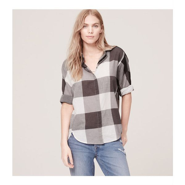 LOFT Petite Plaid Dolman Softened shirt ($55) ❤ liked on Polyvore featuring tops, soot grey, grey button up shirt, dolman top, oversized plaid shirt, grey plaid shirt and plaid button up shirts