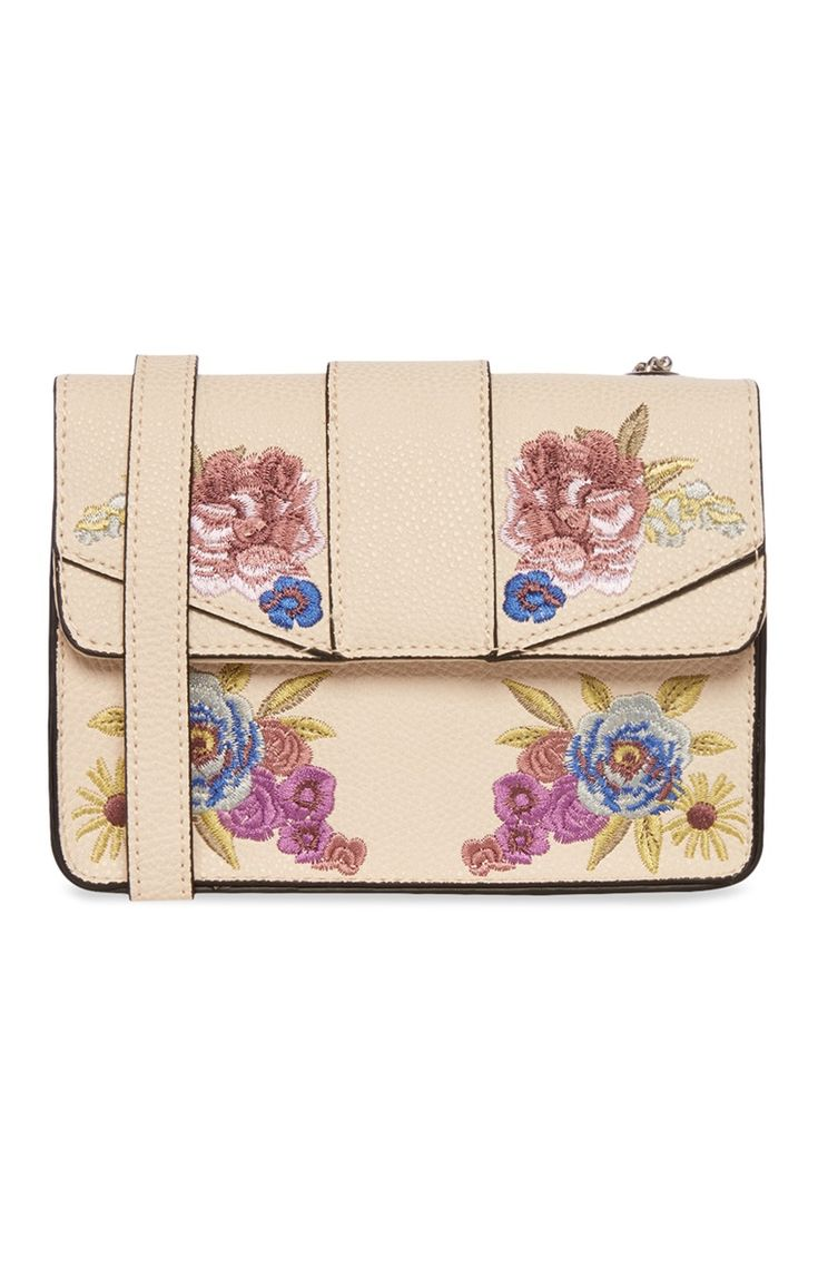 Cream Floral Detail Cross Body