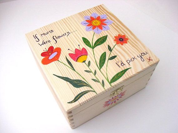 Mothers Day Memory Box, Wooden Memory Box, Keepsake Box, Large Hand Painted Wooden Memory Box with Flower Design