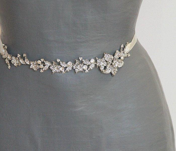 Bridal Sash Wedding Fl Dress Belt Narrow Antique Silver Rhinestone