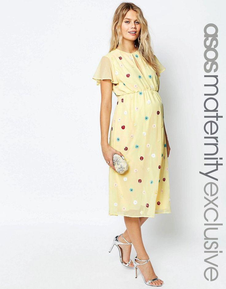 Image 1 ofASOS Maternity Midi Dress with Embellished Multi Colour Flowers