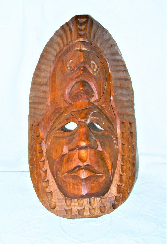Guatemalan MAYAN Indigenous American Chief Hand Carved Wood 12\
