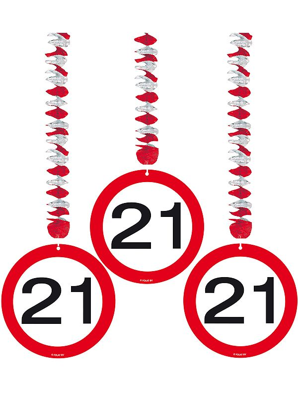 Rotorspiralen 21 jaar verkeersborden 3 stuks. Feestelijke decoratie voor een 21e verjaardag of jubileum. U ontvangt drie stuks van deze stopbord rotorspiralen.