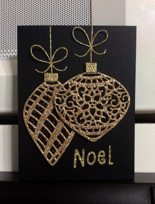handmade Christmas card ... black card with die cut ornaments of gold glitter paper ... tres elegant ... Stampin' Up!