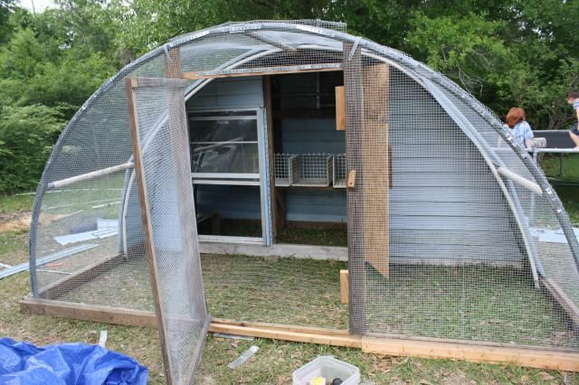 This is made from  a trampoline frame http://www.backyardchickens.com/forum/uploads/84637_dscf4721.jpg   Could also be made from old greenhouse frames and recycled timber,
