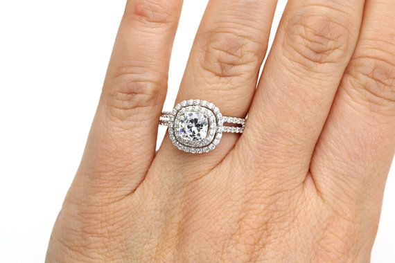 Double Halo Wedding Set Cushion Moissanite Engagement by RareEarth, $2359.00