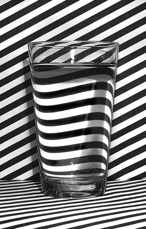 The optic nerd in me likes. black and white stripes, refraction