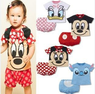 2014 summer baby Set romper T shirt Pant girl boys cotton toddler jumpsuit,infant mickey minnie bodysuit 2 pcs baby clothing set $7.90 - 8.70