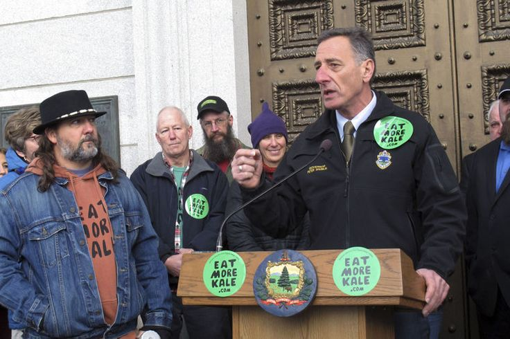 """MONTPELIER, Vt. (AP) — A folk artist who became a folk hero to some after picking a fight with fast-food giant Chick-fil-A over use of the phrase """"eat more kale"""" — similar to their trademarked """"eat mor chikin"""" — has won his legal battle. Bo Muller-Moore said Friday outside the Statehouse that the U.S. Patent and Trademark Office had granted his application to trademark """"eat more kale,"""" a phrase he says promotes local agriculture. He silk-screens the phrase on T-shirts and sweatshirts and…"""