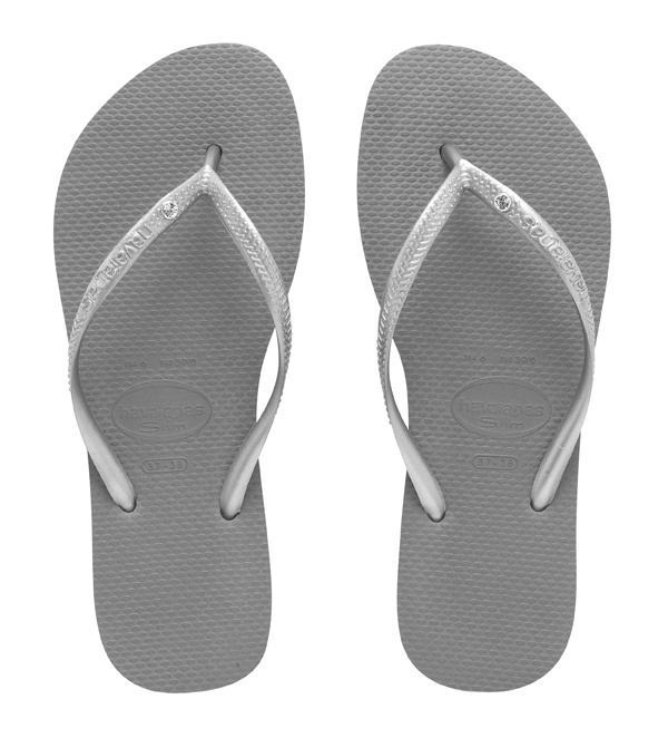 Havaianas Slim Crystal in Grey/ Silver $39.95