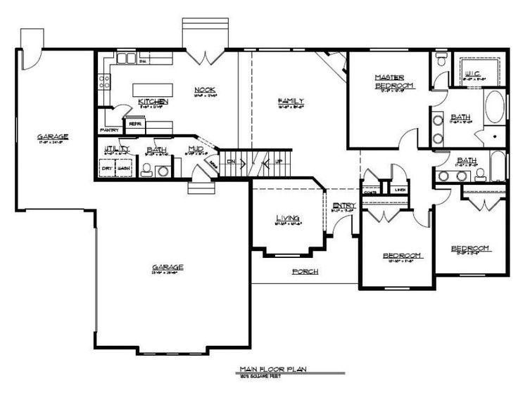 12 best rambler floor plans images on pinterest floor for 4 bedroom rambler floor plans