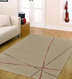 Ambadi Paper White & Rose Solid European Rug