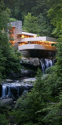 Fallingwater house - Frank Lloyd Wright You can actually open a piece of the floor in this house and stick your toes in the swiftly moving water OR put your fishing pole in there! Amazing concept--tucked in in a forest in western PA.