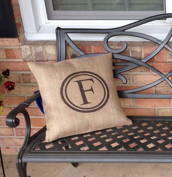 Indoor/Outdoor Monogrammed Burlap Pillow Cover 16 x 16 (Envelope Style) & 129 best Monograms images on Pinterest   Silhouette projects ... pillowsntoast.com
