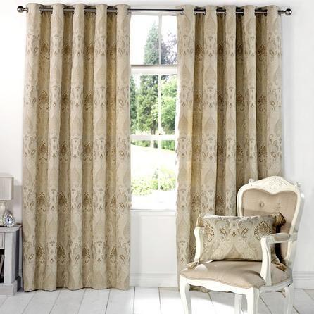 Dunelm Novello Beige Cotton Eyelet Curtains (W 163cm (64'') x Drop 183cm (72''))