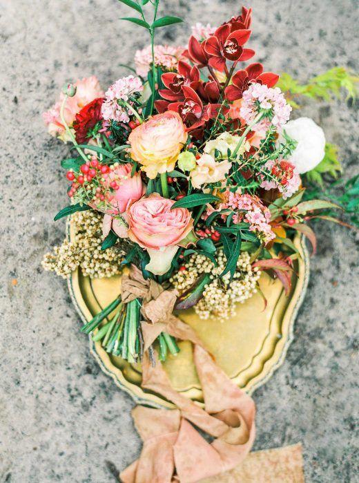 Bruidsboeket warme kleuren