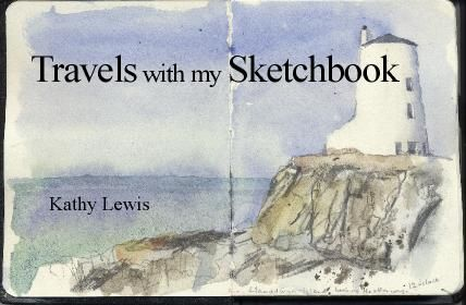 LLandwyn Island, Lighthouse. Watercolour, Kathy Lewis