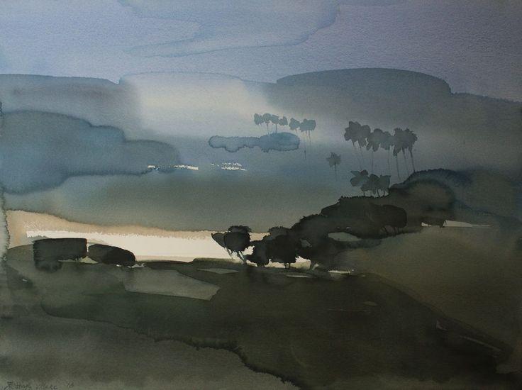 Prabhu's village_ god's place.jpg - Boyama,  75x55x0,1 cm ©2016 Prashant Prabhu tarafından -                                                                                                Izlenimcilik, Gerçekçilik, Kâğıt, Manzara, Kırsal yaşam, Su, morning, earth, blue, India, lake, trees, sunrise, mist, hills, village