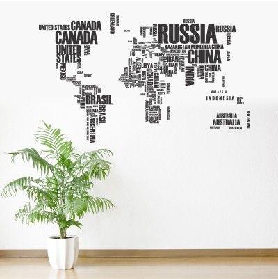 """Adesivo Murale - Cartina geografica del mondo.  Adesivo murale di alta qualità con pellicola opaca di facile installazione. Lo sticker si può applicare su qualsiasi superficie liscia: muro, vetro, legno e plastica.  L'adesivo murale """"Il Mondo 2"""" è ideale per decorare il vostro soggiorno. Adesivi Murali."""