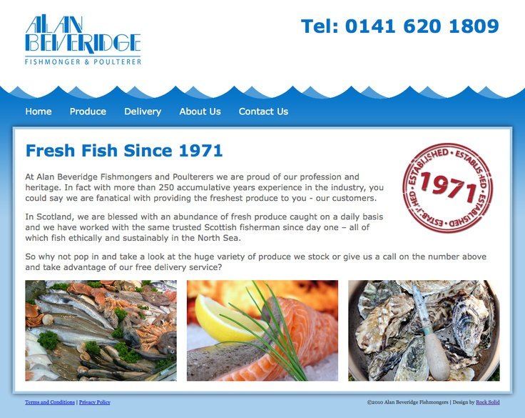 This is a simple website we created for Alan Beveridge fishmongers in Glasgow.