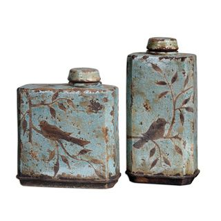 @Overstock.com - Freya Light Sky Blue Containers (Set of 2) - Give any room distinction when you add this unique ceramic container set to your decor.This set features two containers with removable lids for use, if desired.These unique crackled pieces are light blue with an antique brown bird resting in a tree.   http://www.overstock.com/Home-Garden/Freya-Light-Sky-Blue-Containers-Set-of-2/7885788/product.html?CID=214117 $204.60