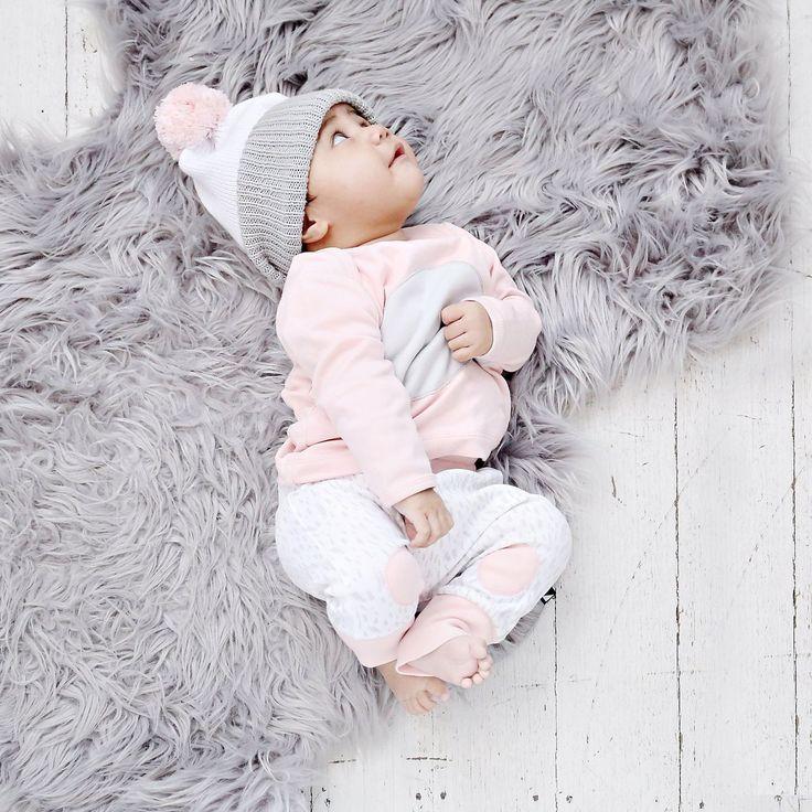 Organic baby clothing - Ethi- Paint patch pants - white / ice pink