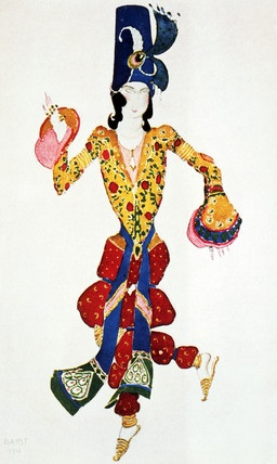 Costume design, by Leon Bakst (1866-1924). Adolescent in Michel Fokine's ballet Scheherazade for Diaghilev Ballets Russes at the Paris Opera. Paris, France, 1910.