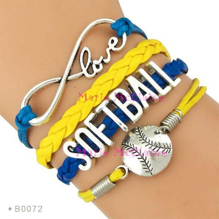 Softball Bracelet - Blue/Yellow