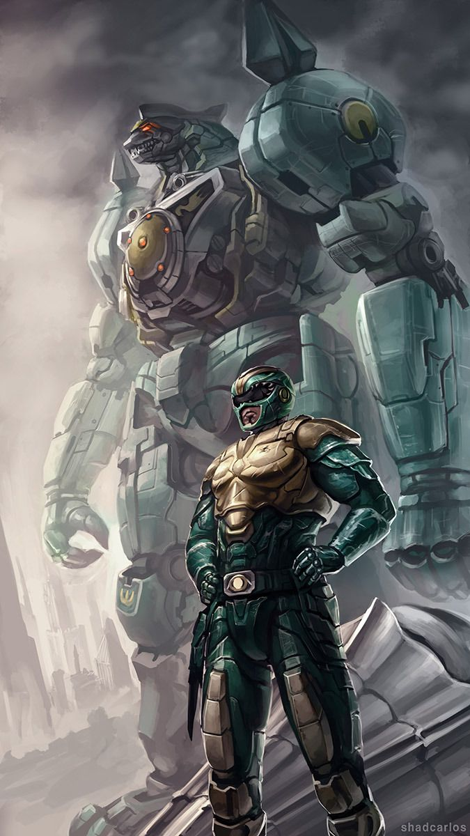 Green Ranger and Dragonzord from Mighty Morphin Power Rangers by Carlos Cardenas