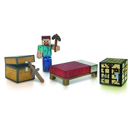 Minecraft Steve Action Figure With Accessories Detailed Survival Kit Workbench