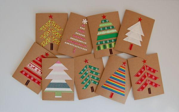 weihnachtliches basteln weihnachtskarten basteln tanne farbiges papier