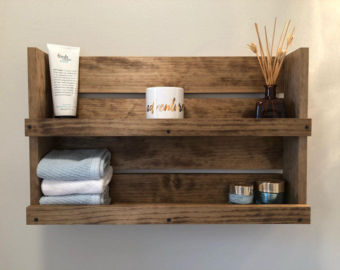 rustic modern kitchen wall colors   Rustic Kitchen Three Shelves Spice Rack Storage Wood wall ...