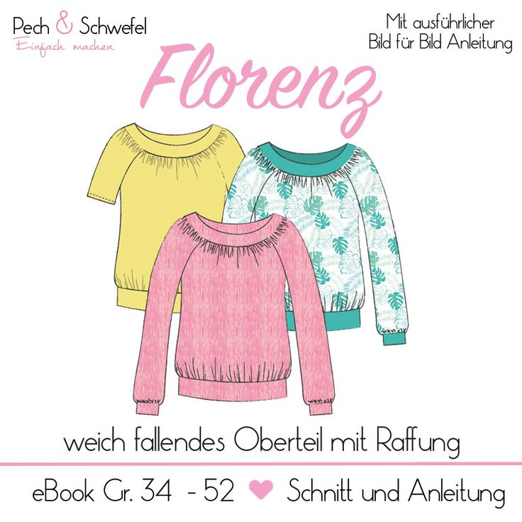 """Schnittmuster Oberteil """"Florenz"""" Gr. 34 - 52 Damen ..."""