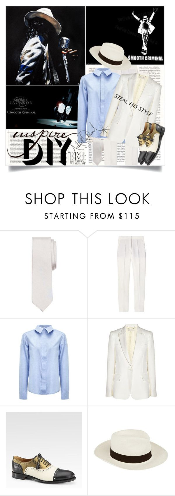 """DIY Halloween: Smooth Criminal"" by batsoulini ❤ liked on Polyvore featuring Brooks Brothers, STELLA McCARTNEY, Svek, Gucci, Barbisio, fedora hats, michael jackson, oxfords, blazers and diy halloween"