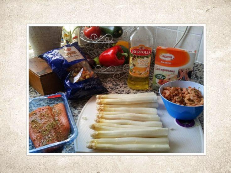 sweet*euro*kookt: Recept Asperges met pasta, zalm en garnalen uit de oven