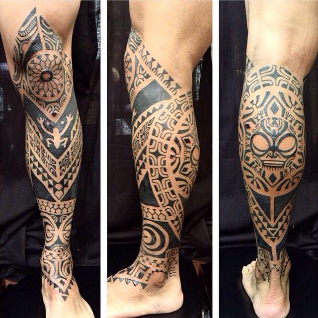 Artist Genevieve finish this fun black work tattoo here at Castro Tattoo..