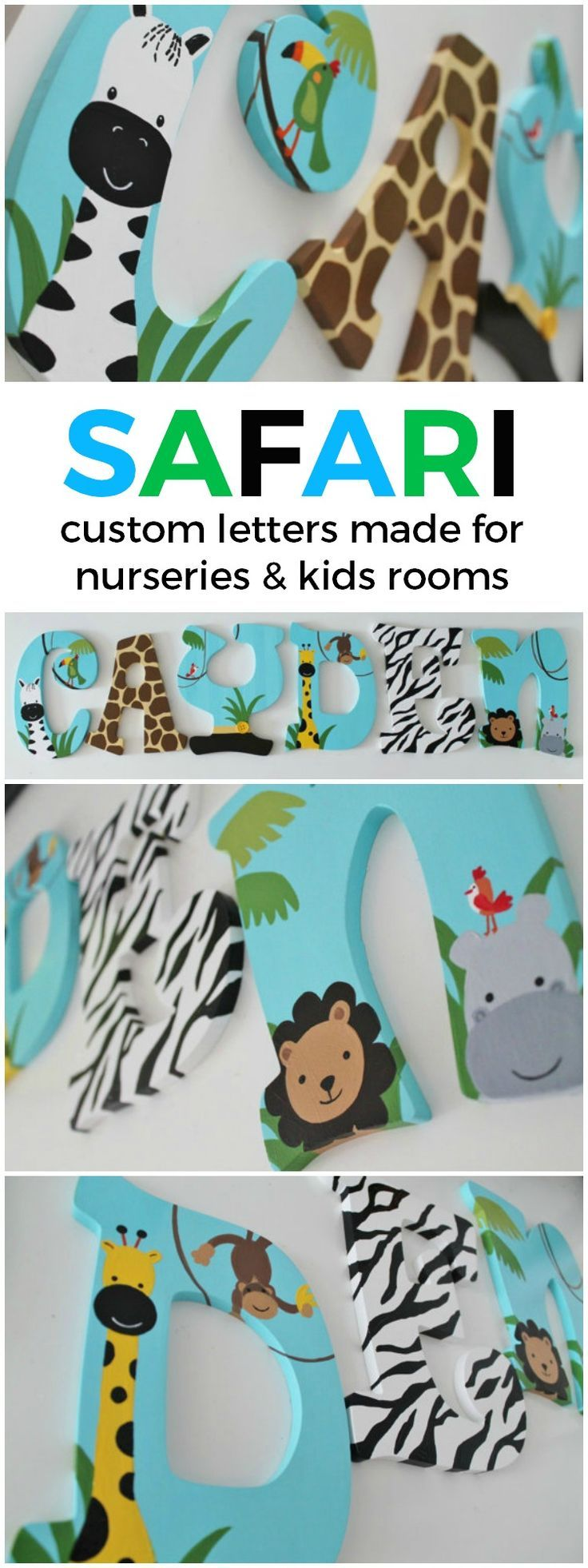 Lambs and Ivy Peek A Boo Safari Themed Wooden Letters for Nursery or Bedroom | Unique and Chic Creations custom kids room letters