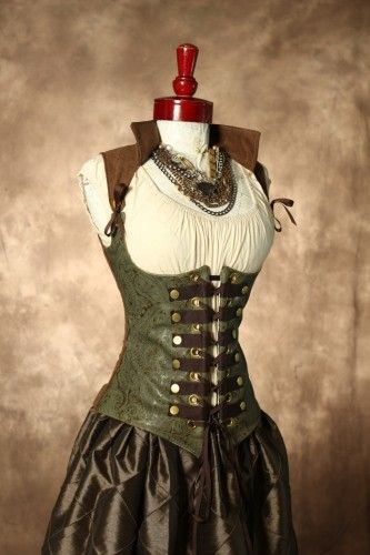 Damsel in this Dress is an awesome lady that makes corsets, skirts, and other Renaissance and Steampunk-type apparel!