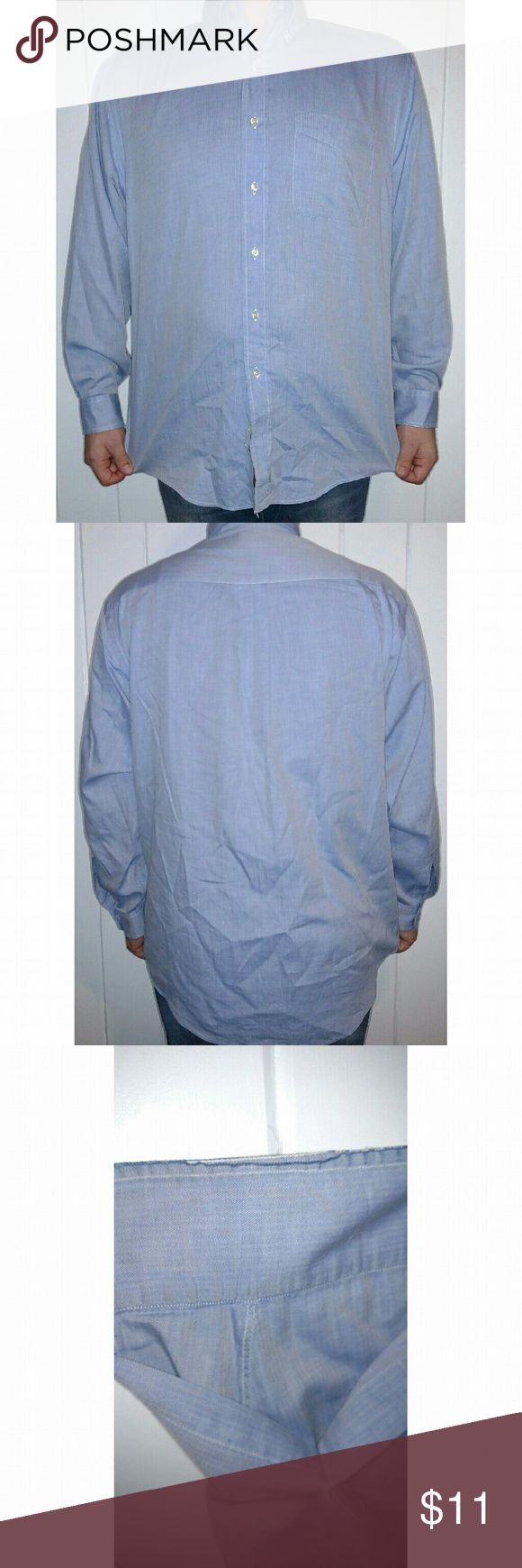 Brooks Brothers Relaxed Fit Light Blue Dress Shirt This size Medium dress shirt is light blue, 100% cotton, relaxed fit with standard cuffs and buttons on the collar. The cuffs show some slight wear as shown in picture but otherwise the shirt is in excellent condition.   Fast shipping! Brooks Brothers Shirts Dress Shirts