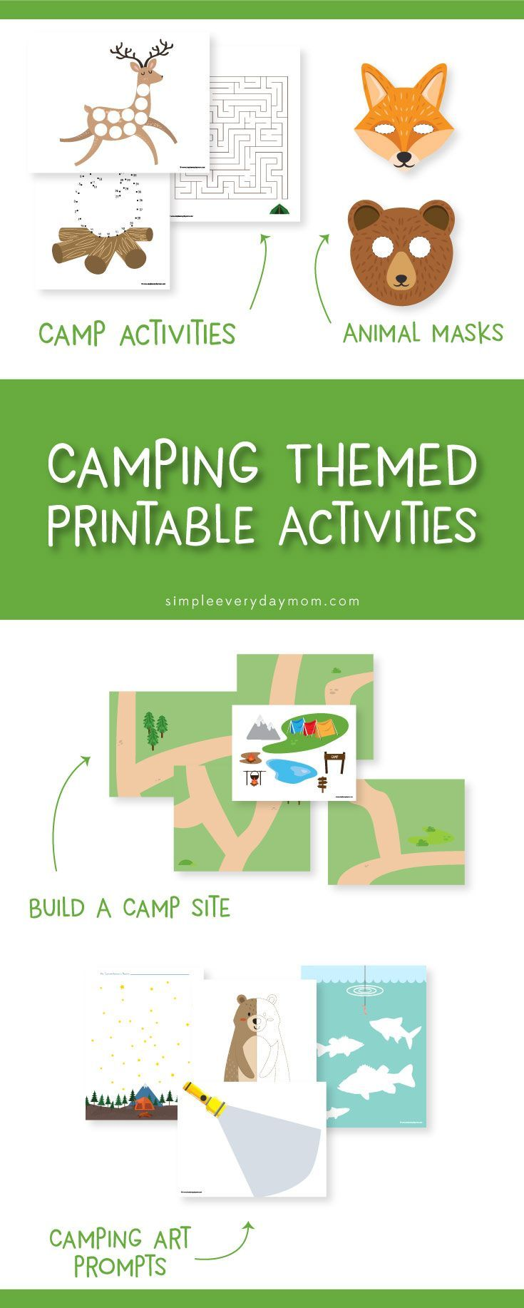 Camping printables for kids   Give yourself some quiet time while your kids strengthen their creativity. They're great for kindergarten, preschool and more.