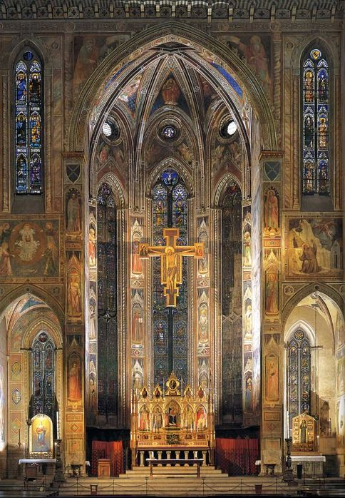 Santa Croce, Florence. Important tombs are here, Michelangelo and Galileo, for example. Beautiful fresco of the death of St. Francis is in the apse.