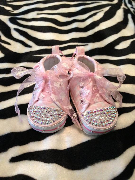 Bling Newborn Baby Tennis Shoes with Swarovski Crystal AB Rhinestones