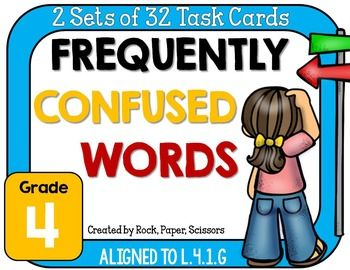 Frequently Confused Words: 2 Sets of 32 Task Cards! A fun alternative to worksheets!  Word List, Set #1: your, you're it's, its accept, except their, there, they're who's, whose too, to, two than, then Word List, Set #2: bear, bare by, buy, bye are, our breathe, breath allot, a lot already, all ready farther, further affect, effect   Common core aligned to L.4.1.G - Correctly use frequently confused words (e.g., to, too, two; there, their).