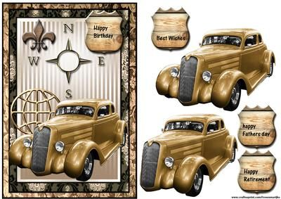 Male card Vintage car on Craftsuprint designed by Marijke Kok - Male card with a vintage car and a lot of details,for birthday,retirement,... - Now available for download!